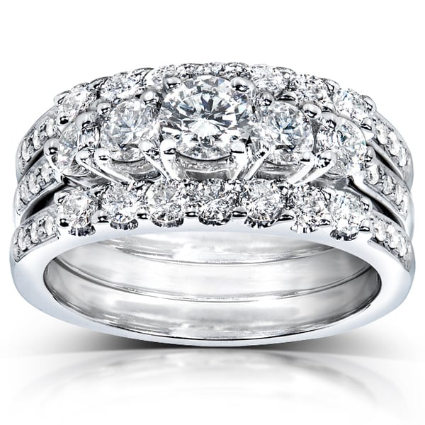 Annello 14k White Gold 1 1/3ct TDW Diamond 3-piece Bridal ...