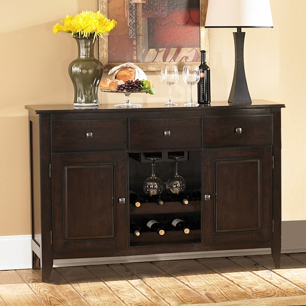 Tribecca Home Acton Warm Merlot X Back Casual Dining Side: TRIBECCA HOME Acton Merlot 3-drawer Wine Rack Dining