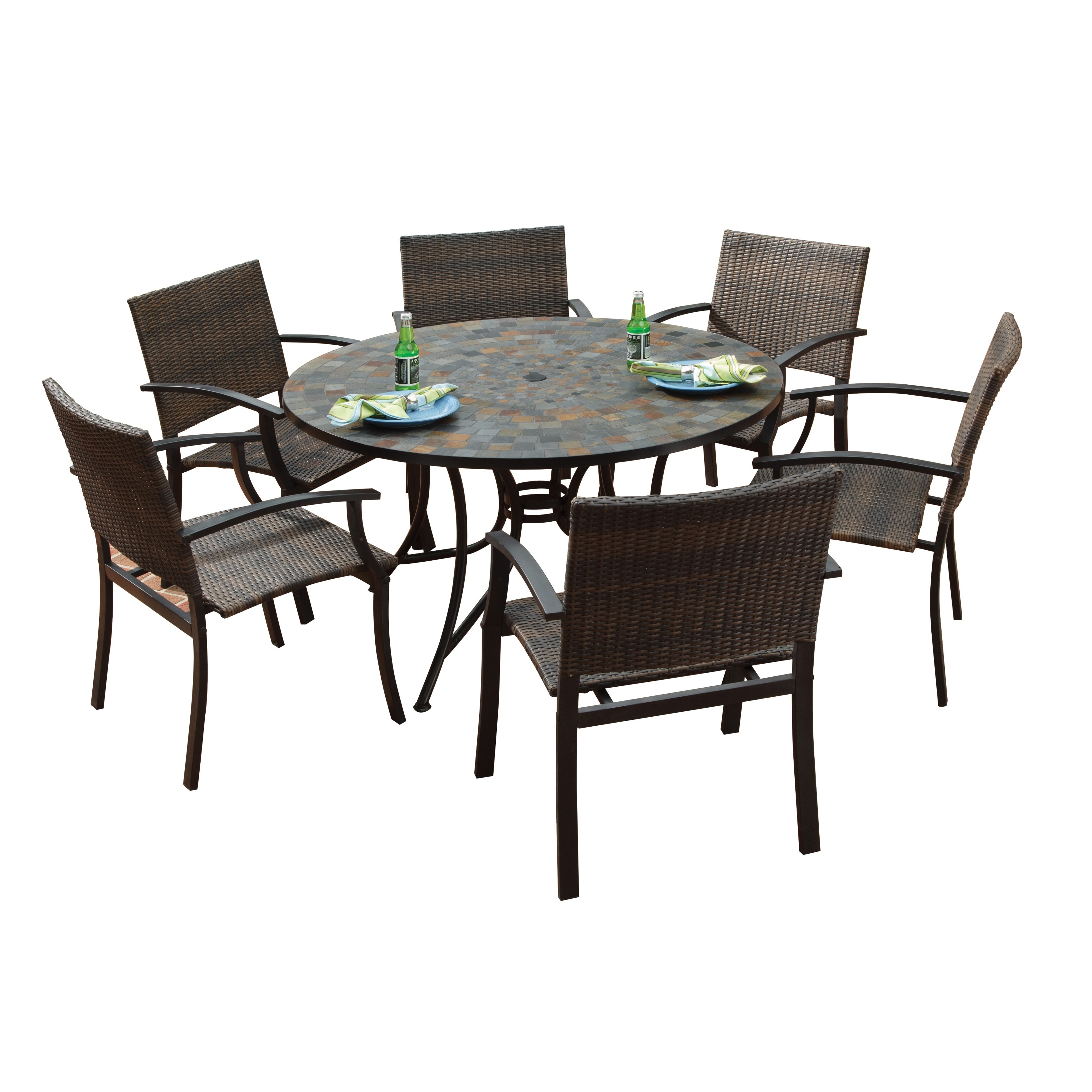 Large Round Dining Table: Stone Harbor Large Round Dining Table And Newport Arm
