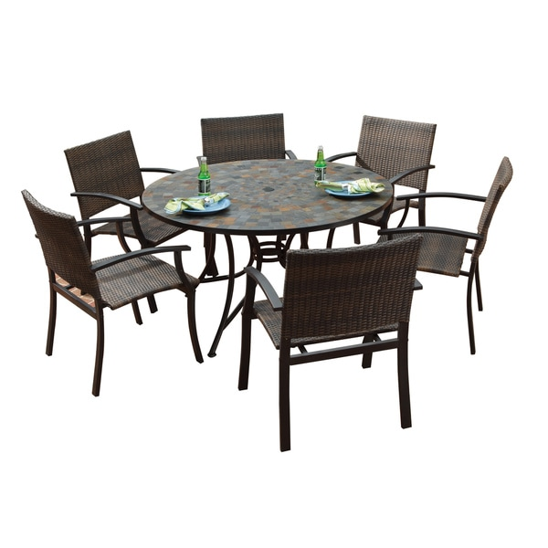 Large Garden Table And Chairs Set: Home Styles Stone Harbor Large Round Dining Table And