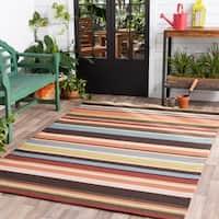Hand-hooked Multicolored Rancie Indoor/Outdoor Stripe Area Rug - 8' x 8'