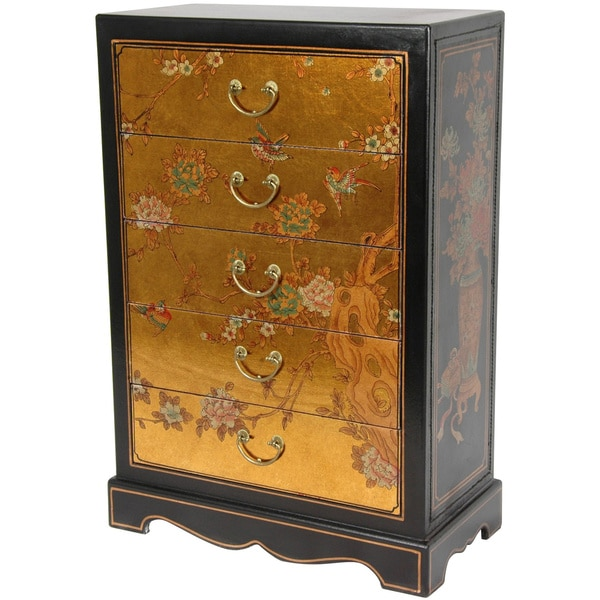Le Grand 6 Drawer Dresser In Antique White: Gold Leaf Five Drawer Chest (China)