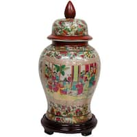 Handmade Oriental Home Porcelain 18-inch Rose Medallion Temple Jar (China)