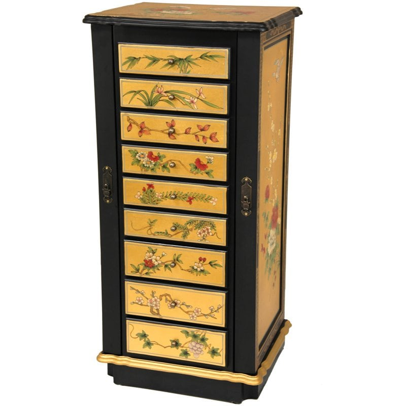 Gold Leaf Flowers Jewelry Cabinet China 14257813