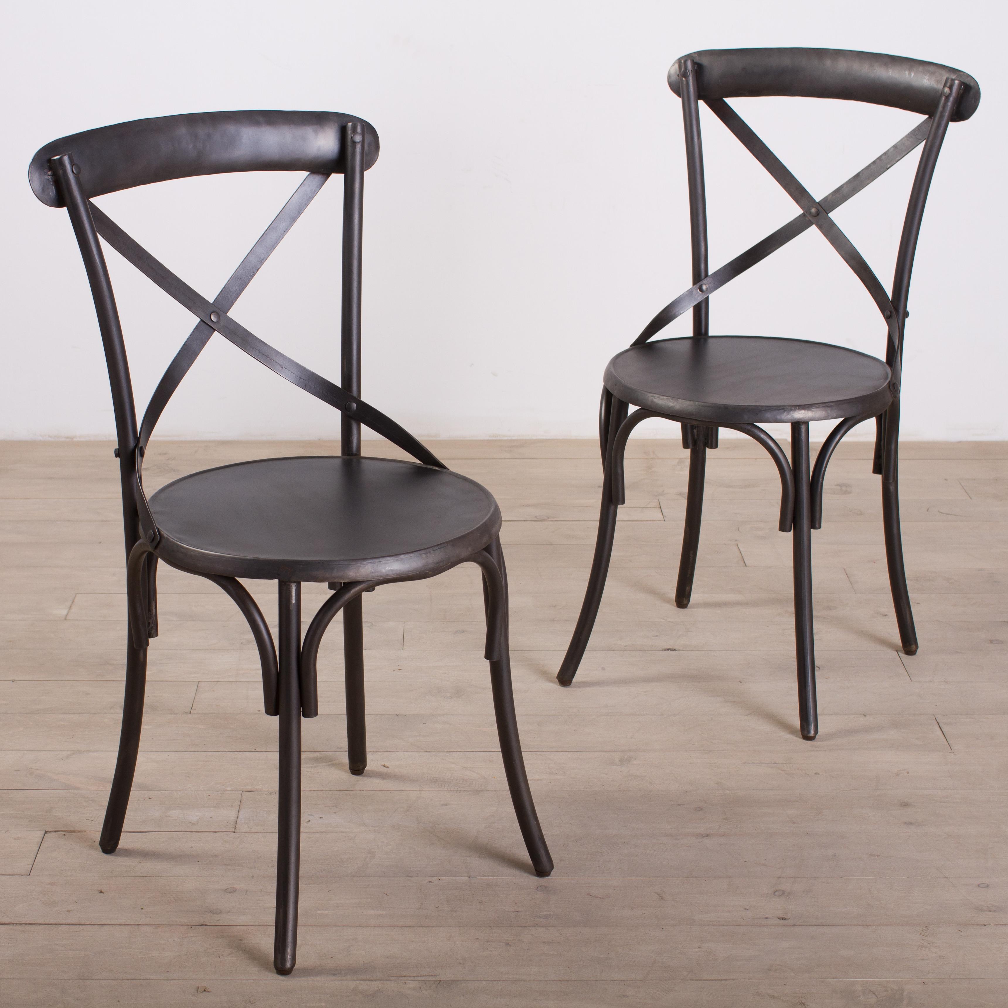 Metal Bistro Chairs Zinc Finish Set Of 2 Overstock
