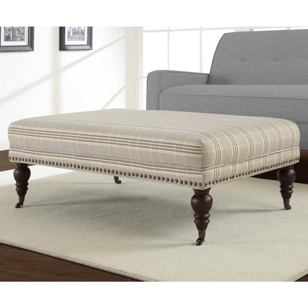 Flat Top Plaid Rectangular Ottoman 14258561 Overstock
