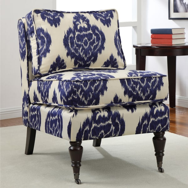 Indigo ikat armless chair seat living room seat furniture accent home