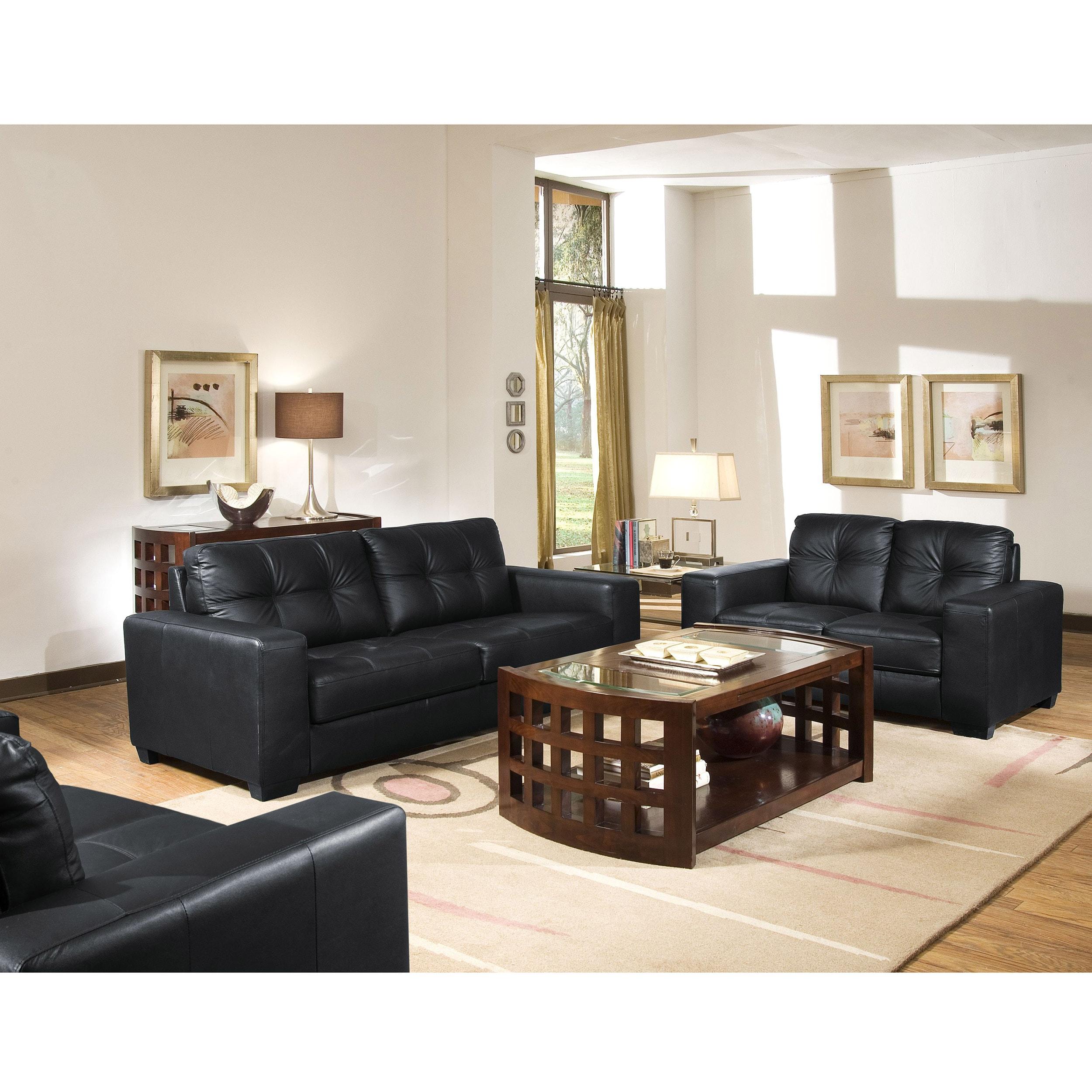Living Room Modern Black: Modern Black Leather Upholstery Living Room Lounge Couch