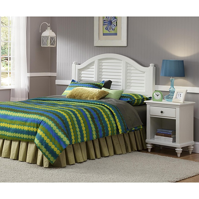 Greyson Living Laguna Antique White Panel Bed 6piece: Bermuda Headboard And Night Stand Brushed White Finish
