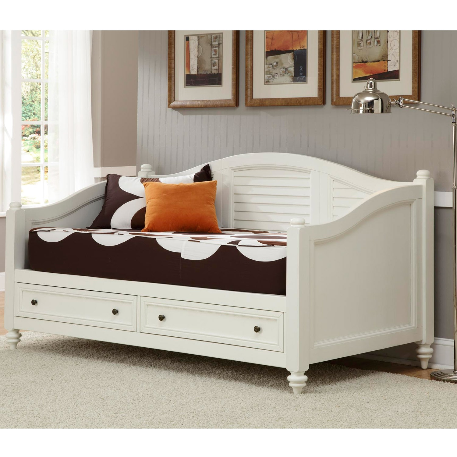 Home Styles Bermuda Brushed White Finish Twin Size Daybed