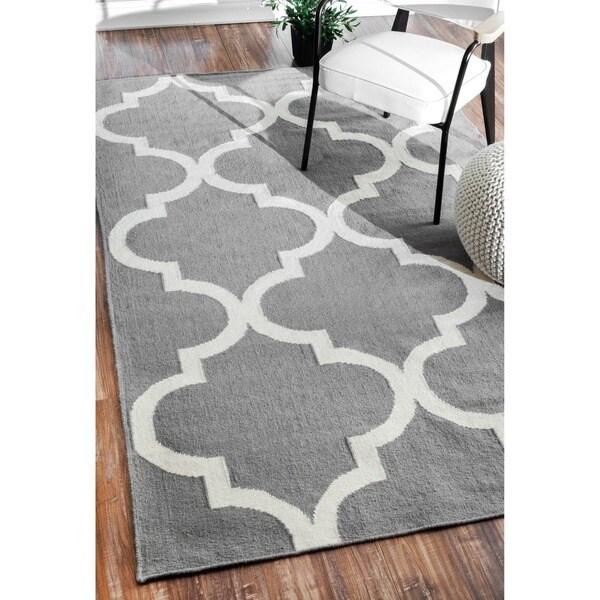 Nuloom Handmade Flat Weave Moroccan Trellis Gray Wool Area