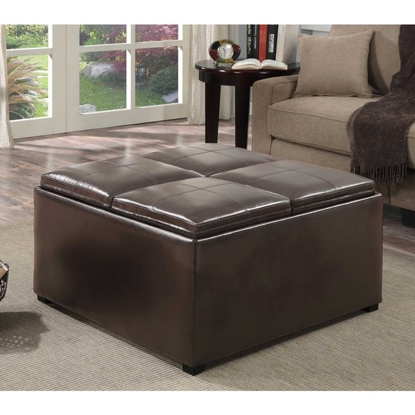Franklin Coffee Table Brown Faux Leather Storage Ottoman