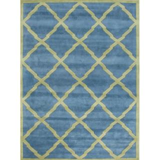 Alliyah Handmade Aqua New Zealand Blend Wool Rug 5 X 8