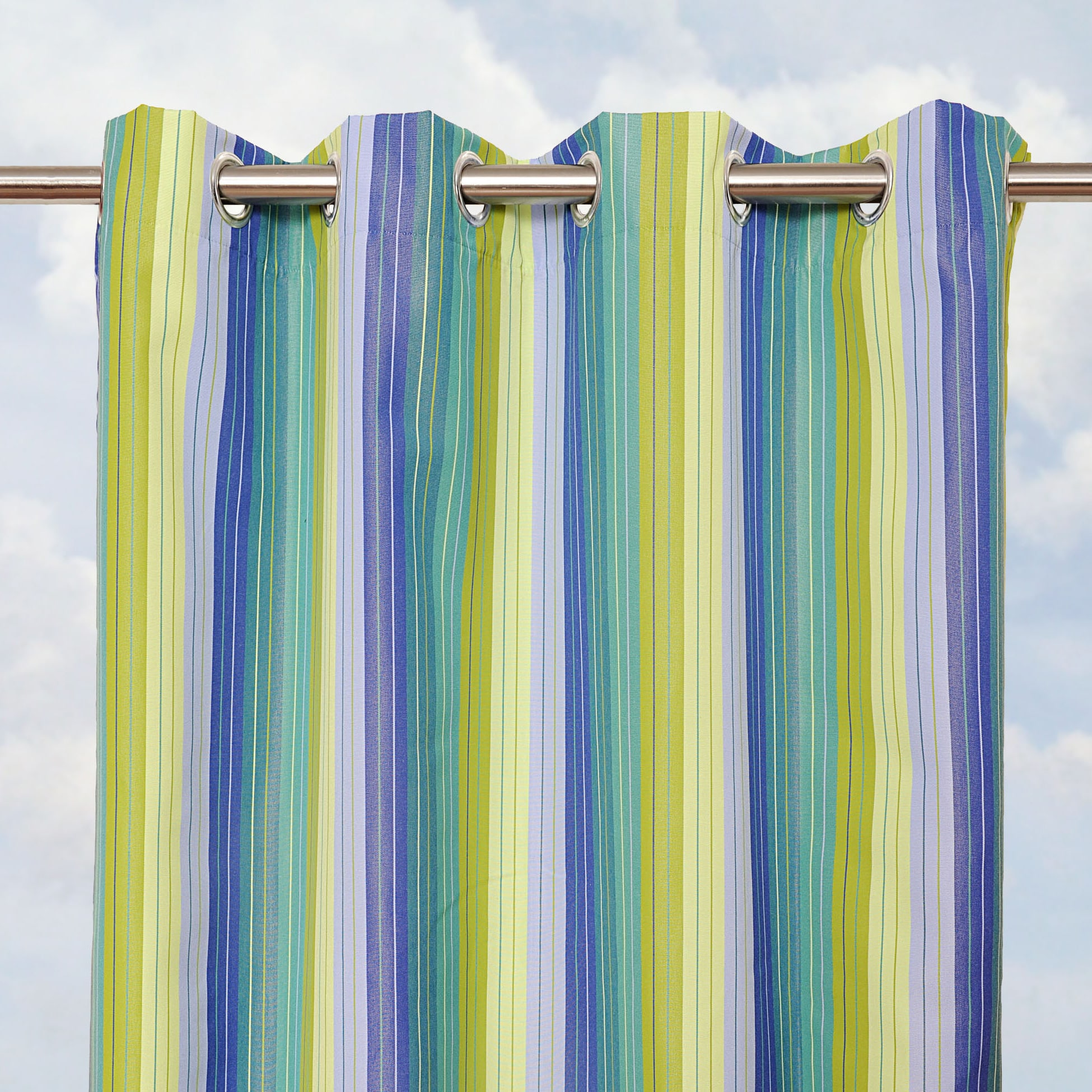 Sunbrella Bay View Seaside 84 Inch Outdoor Curtain Panel