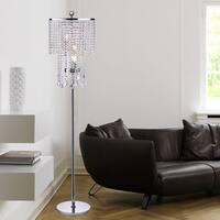 Warehouse of Tiffany Chrome Metal Crystal Floor Lamp