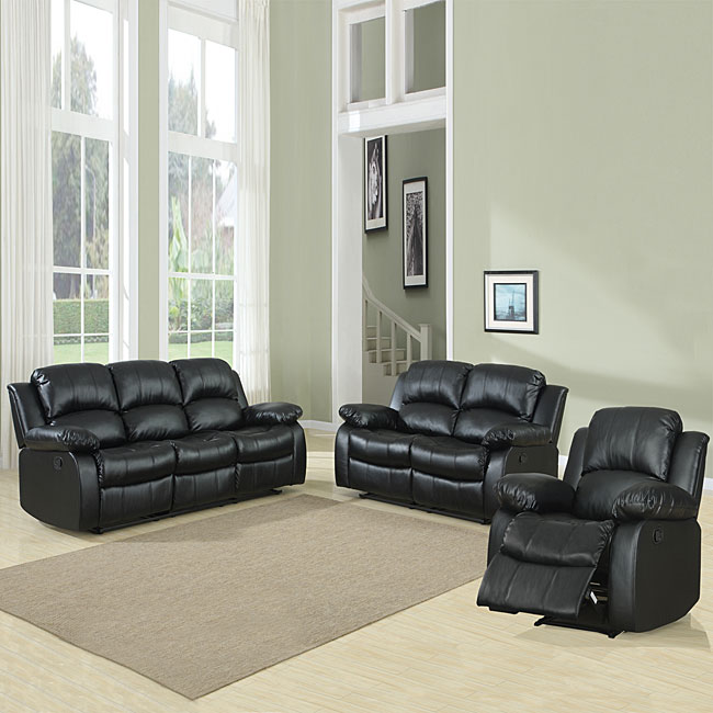 Overstock Living Room Sets: TRIBECCA HOME Coleford 3-piece Black Reclining Living Room