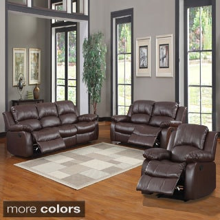 Hilton brown reclining sofa and loveseat set overstock - Hilton furniture living room sets ...