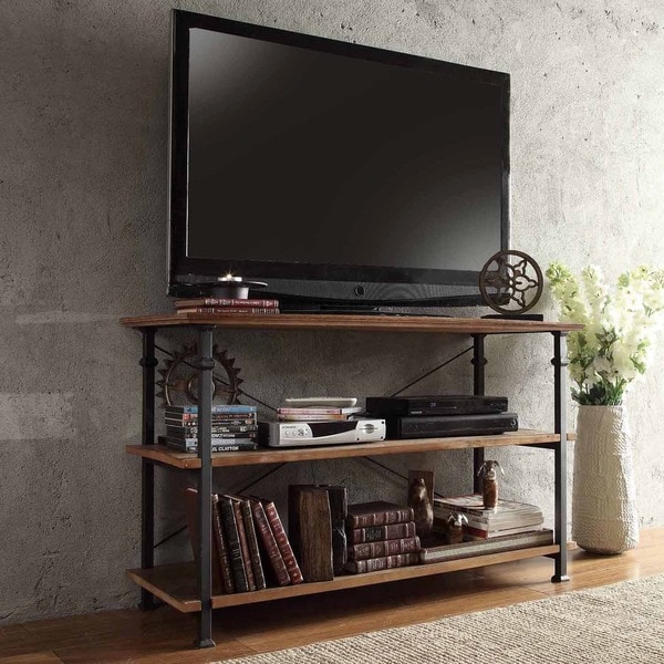 tribecca home myra vintage industrial tv stand overstock shopping great deals on tribecca. Black Bedroom Furniture Sets. Home Design Ideas