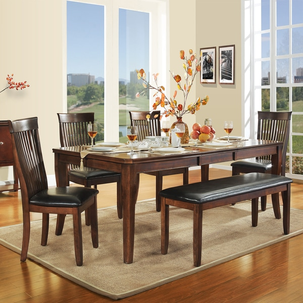 Tribecca Home Acton Warm Merlot X Back Casual Dining Side: TRIBECCA HOME Winsford Burnished Cherry 6-piece Dining Set