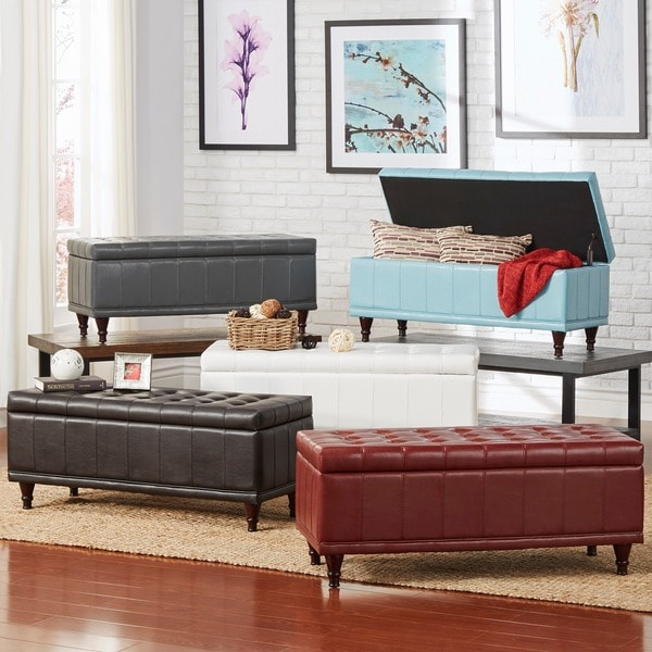Inspire Q St Ives Lift Top Faux Leather Tufted Storage