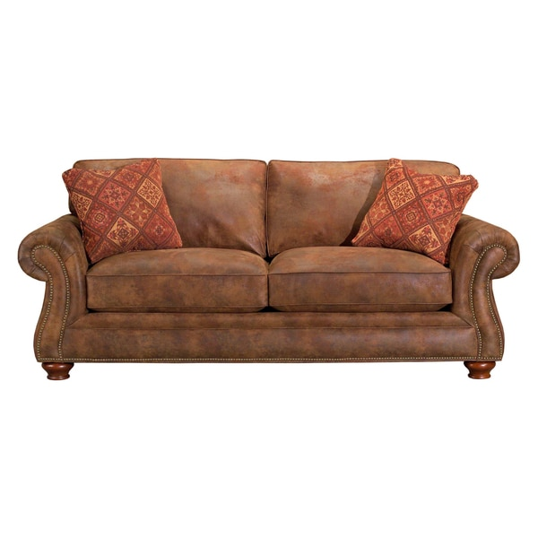 Broyhill Lauren 2 Brown Faux Leather Sofa And Pillows