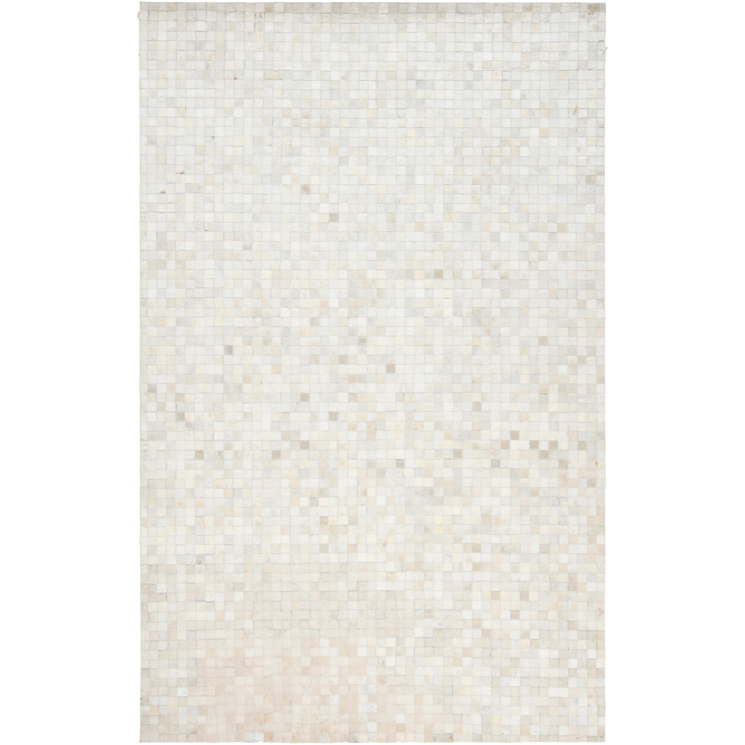 Hand crafted leather animal hide geometric squares trailblazer rug 8 x 10 l14292738