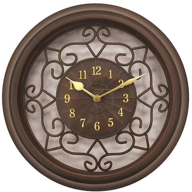 Geneva 15 Inch Brown Plastic Wrought Iron Wall Clock