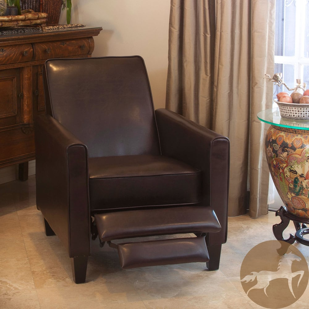 Leather Recliner Club Chair Sports Small Spaces Relax TV
