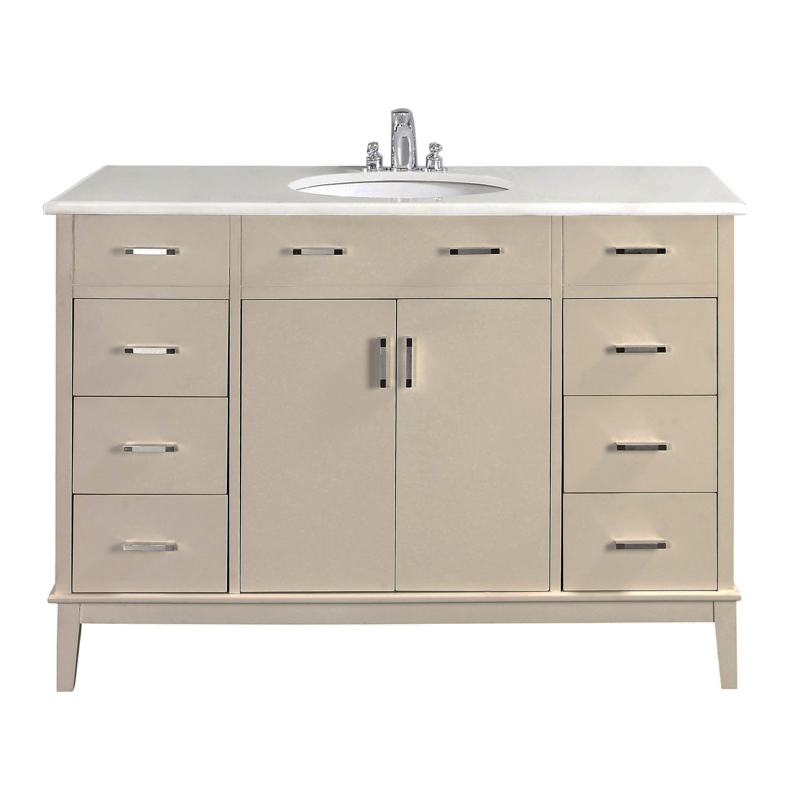 Wyndenhall oxford white 48 inch bath vanity with 2 doors - 48 inch white bathroom vanity with top ...