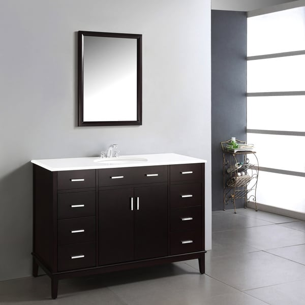 Wyndenhall oxford dark espresso brown 48 inch bathroom - 48 inch white bathroom vanity with top ...