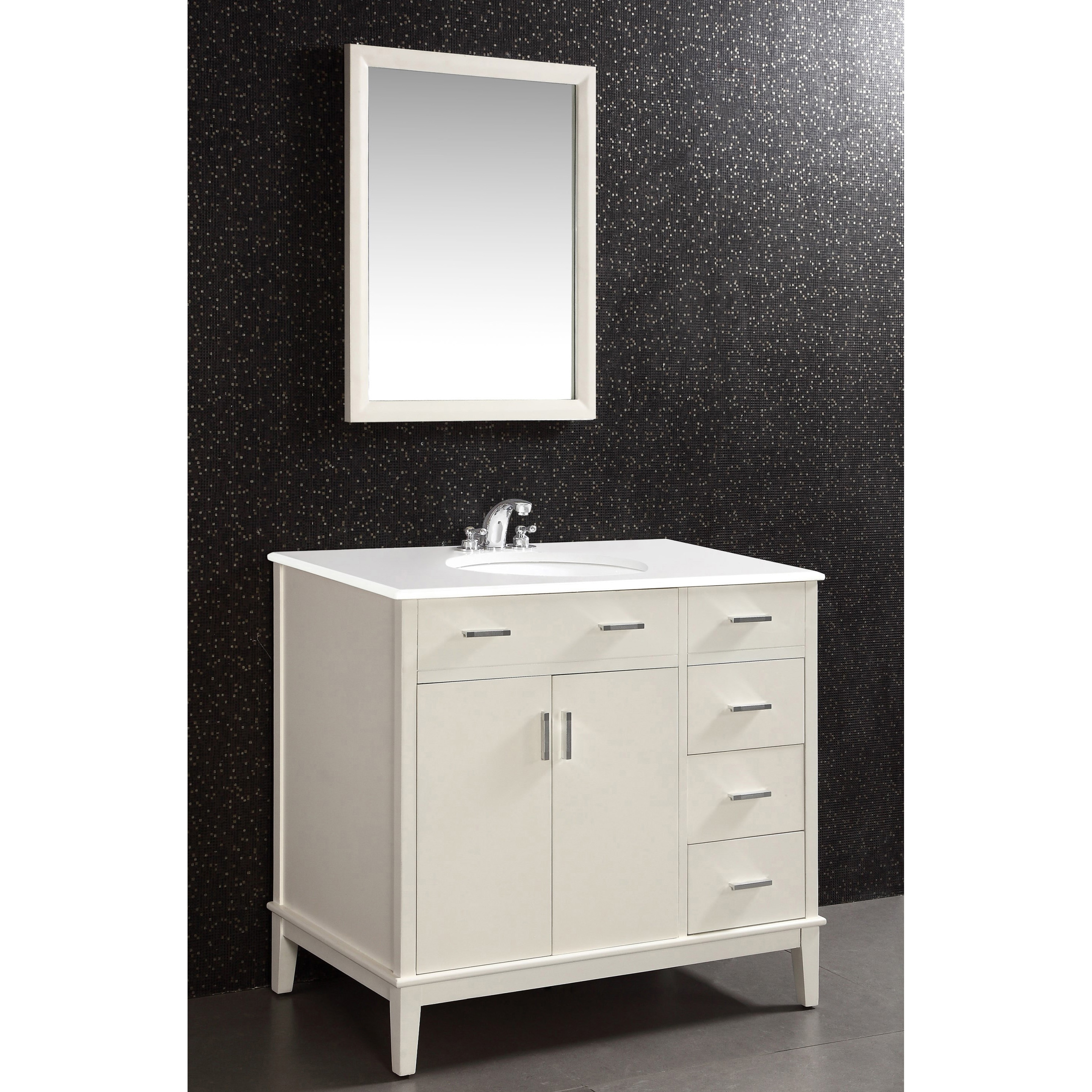 oxford oxford white 36 inch bath vanity with 2 doors and white quartz marble top overstock. Black Bedroom Furniture Sets. Home Design Ideas