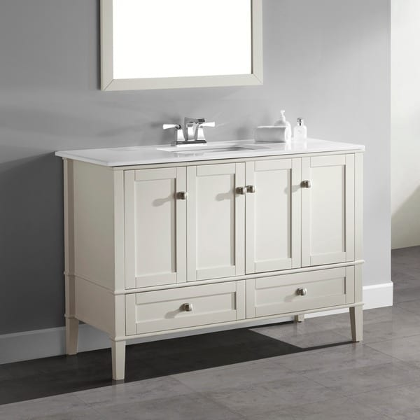 Wyndenhall windham soft white 48 inch 2 door 2 drawer bath - 48 inch white bathroom vanity with top ...