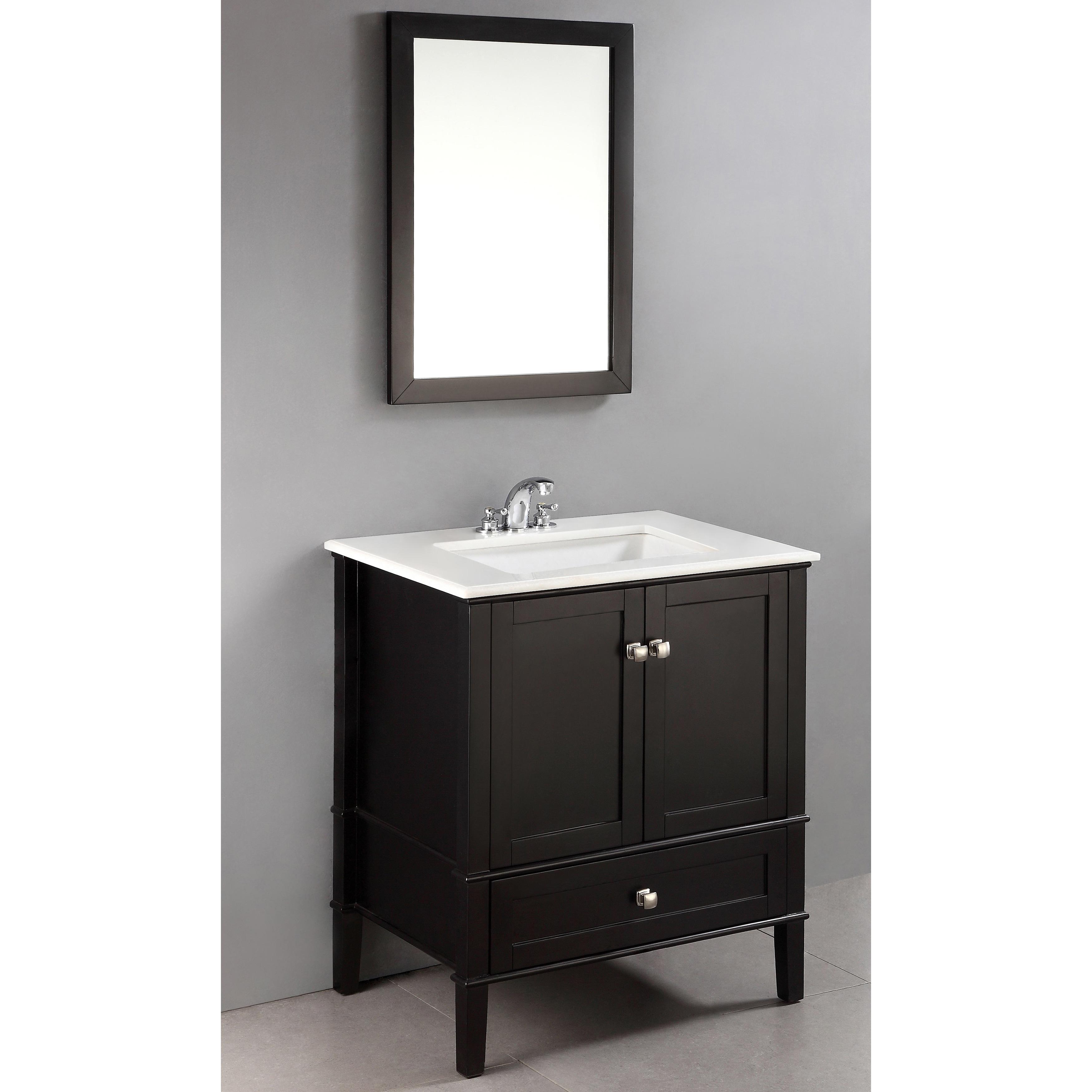 Windham Black 30-inch Bath Vanity with 2 Doors, Bottom ...