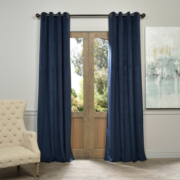 Exclusive Fabrics Midnight Blue Grommet Velvet Blackout