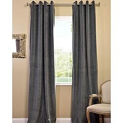Natural Grey Grommet Velvet Blackout Curtain Panel