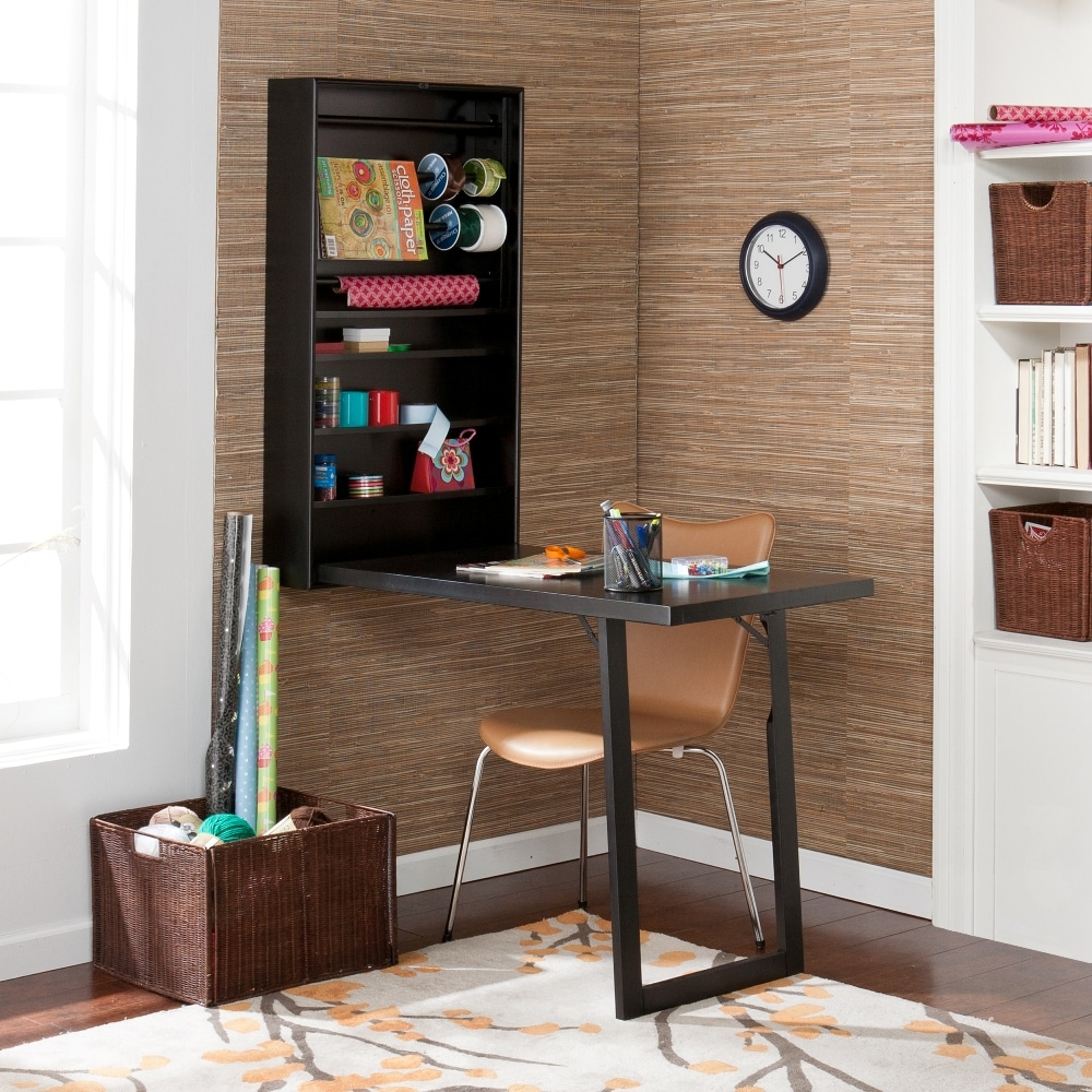 murphy black wall mount fold out craft desk with shelves and racks overstock shopping big. Black Bedroom Furniture Sets. Home Design Ideas