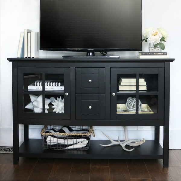 Black 52 Inch Wood Console Table Buffet 14324975