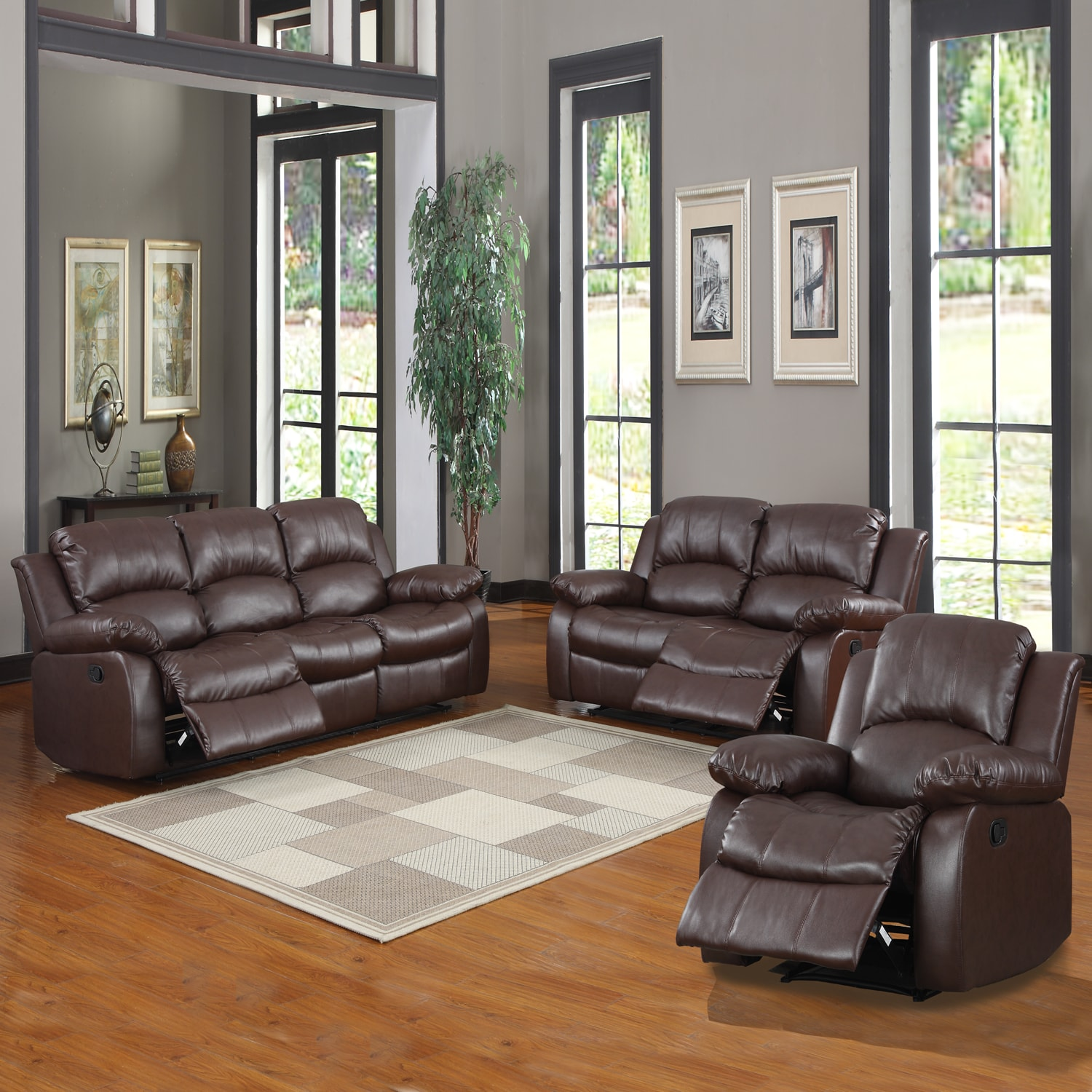 tribecca home coleford 3 piece tufted transitional reclining living room set overstock. Black Bedroom Furniture Sets. Home Design Ideas