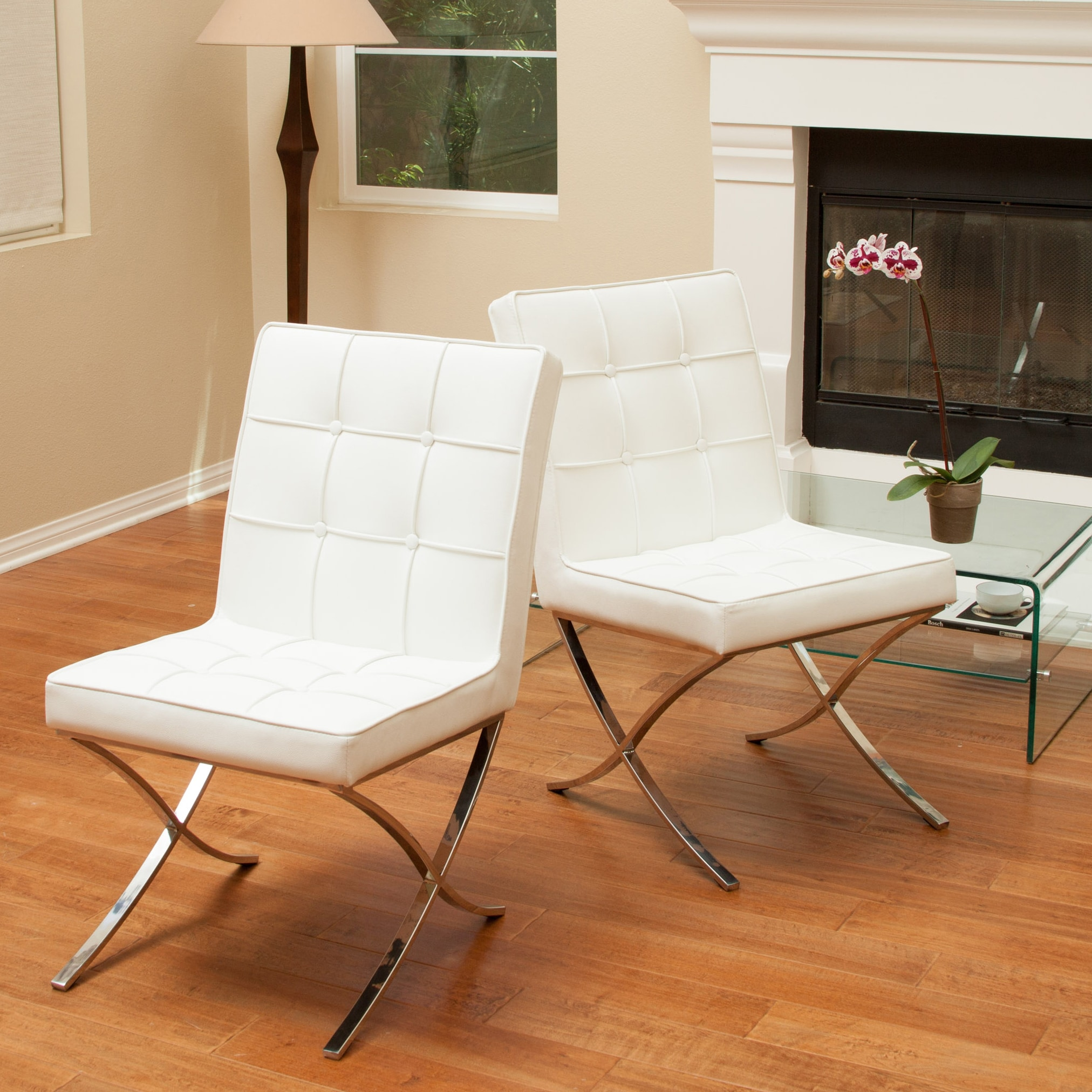 Overstock Dining Chairs: Christopher Knight Home Milania White Leather Dining
