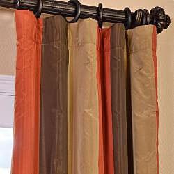 Eff Signature Stripe Burma Faux Silk Taffeta Curtain Panel