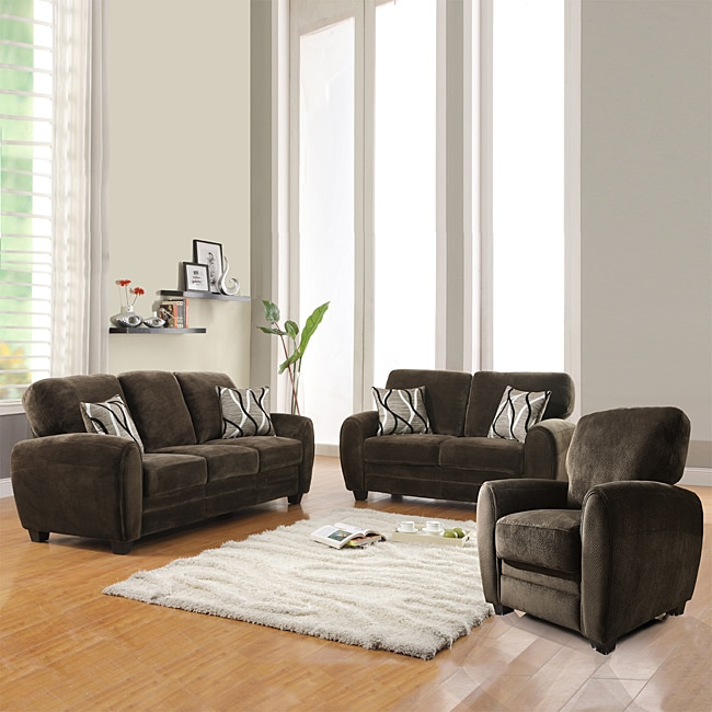 Overstock Living Room Sets: Daventry 3 Piece Chocolate Living Room Set