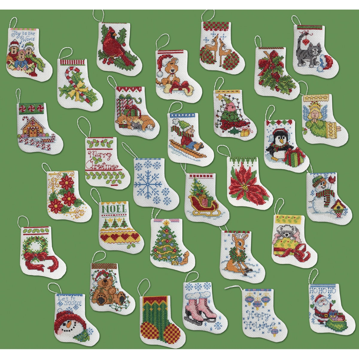 More Tiny Stockings Ornaments Counted Cross Stitch Kit-2-1 ...