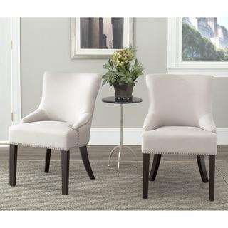 Safavieh Loire Grey Leather Nailhead Dining Chair Set Of