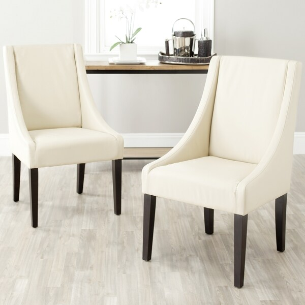 Safavieh En Vogue Dining Sloping Arm Chairs Cream Side