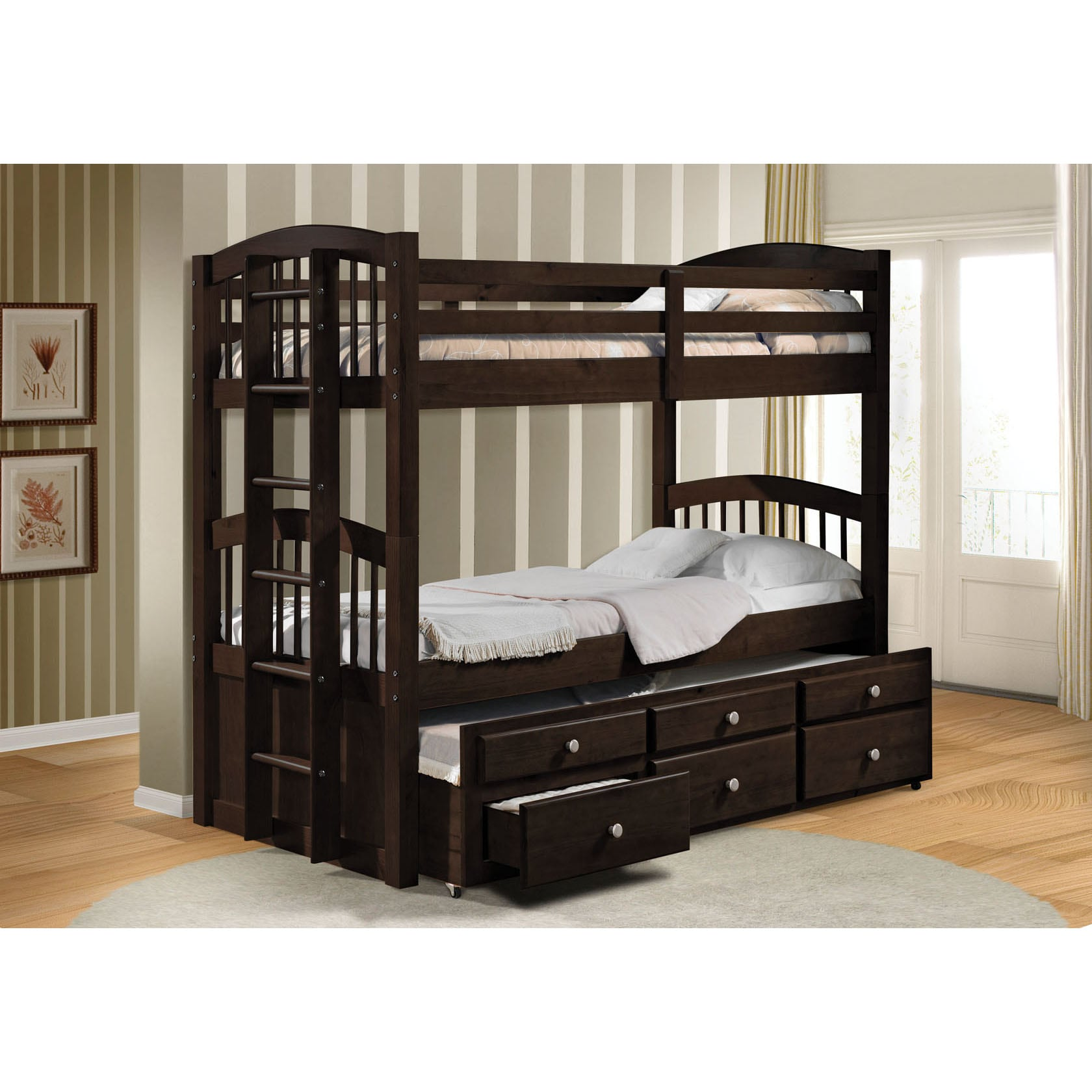 Micah Espresso Twin Bunk Bed With Trundle 14333151