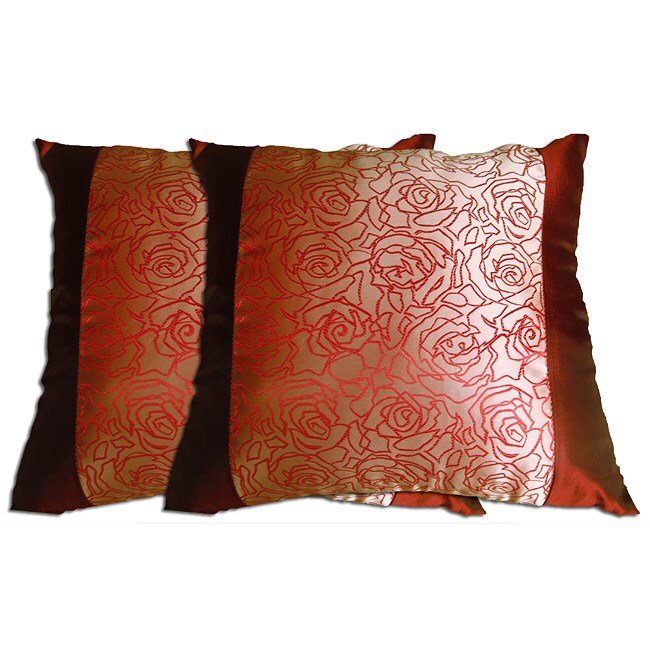 Decorative Wine/Gold Polyester Pillow (Set Of 2