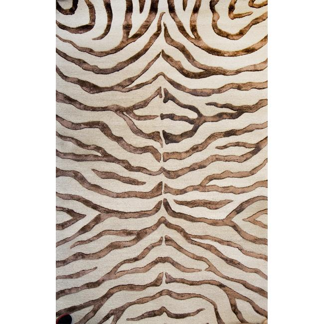 Handmade Alexa Animal Pattern Brown Zebra Wool Viscose