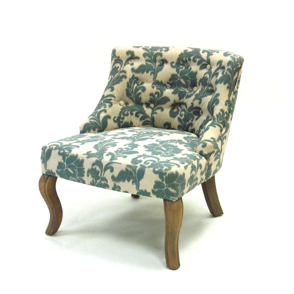Ikat Blue Off White Fabric Accent Chair Furniture Home