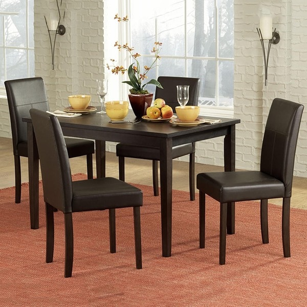 Tribecca Home Acton Warm Merlot X Back Casual Dining Side: TRIBECCA HOME Elgin Rich Espresso Upholstered Casual 5