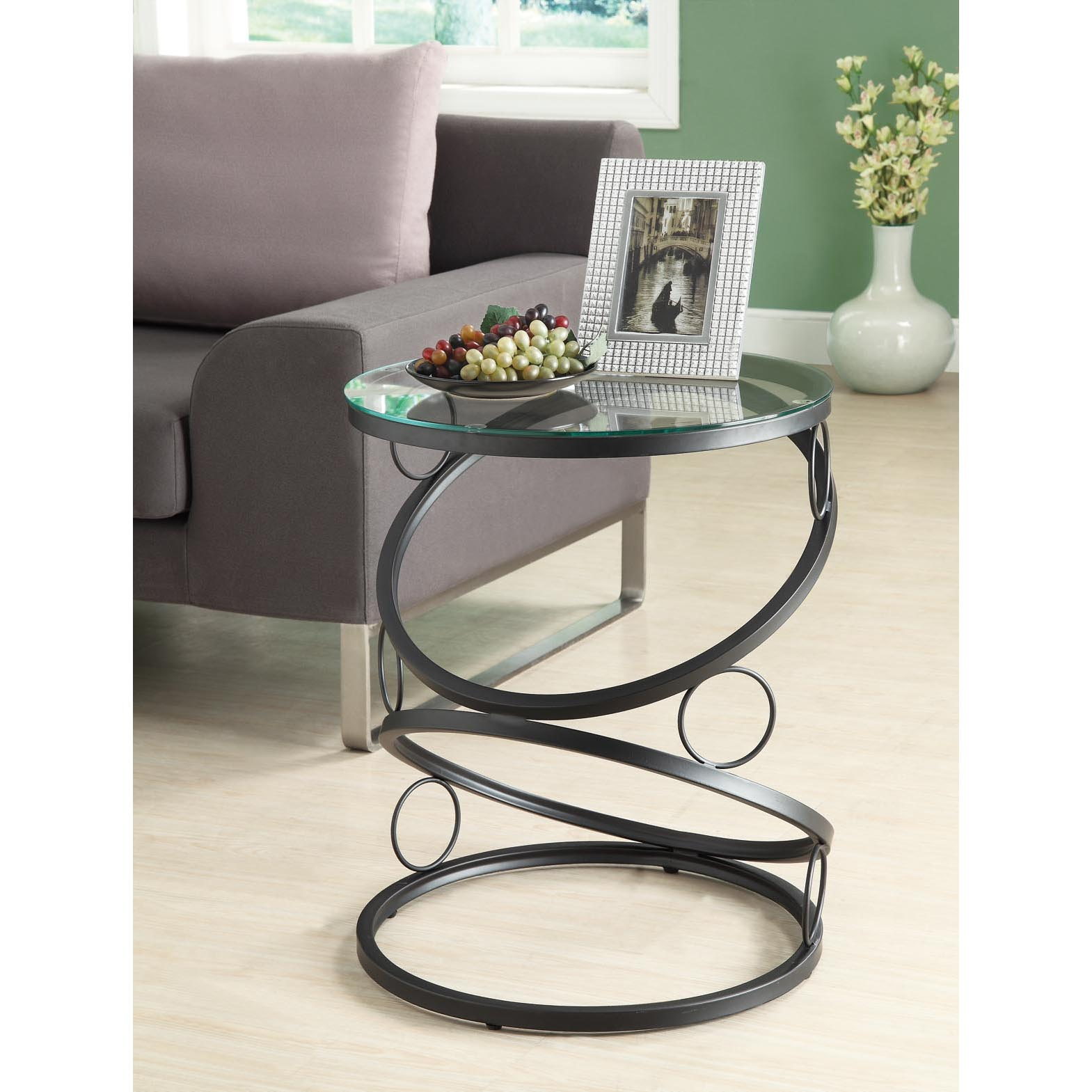 Glass Side End Lamp Coffee Table Lounge Low Occasional: Matte Black Metal Accent Table With Tempered Glass